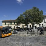 Main square of Settignano with the 10 bus to Florence