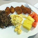 Breakfast (gallo pinto, plantains, hash browns, eggs, fresh fruit)