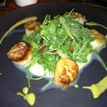 Pan seared scallops over corn polenta @YEW