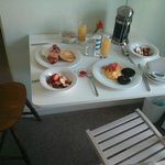 Cosy breakfast set up on foldaway table