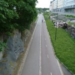 Walking cycle path in front of hotel