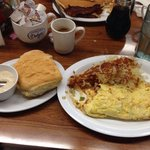 Omelet, hash browns, and biscuit.