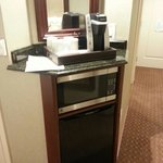 Microwave, fridge, & coffee maker