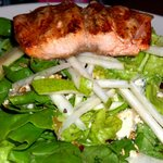 Pear and Blue Cheese Salad with Salmon