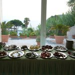 evening meal buffet with view of the sea