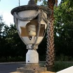 One of the several broken lights