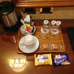Some of the free treats you get in the room; more await in the lobby