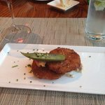 Fried green tomato with pickled okra