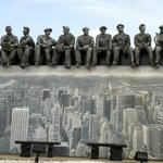 Painting/sculpture honoring construction workers who helped build downstate Manhattan