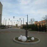 sculpture in roundabout in front of hotel entrance