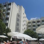 View of hotel from lying on sunbed