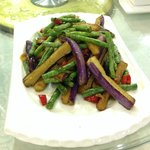 Green beans with egg plant