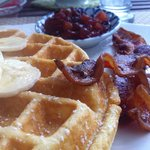Amazing Waffles with Chutney and Top Grade Maple Syrup