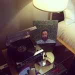 Our vinyl player and Iron & Wine album :)