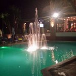 Fountain in pool at night
