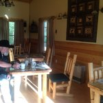 Inside of the breakfast cabin, it's like a little restaurant in here!