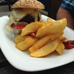 Great homemade burger and chips