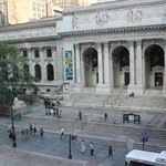 ny public library in the morning