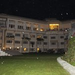 View of the Hotel at night from the grouns