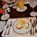 The Eggs Benedict breakfast & blueberry french toast muffin was to perfection!