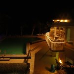 Looking over the pool at night