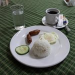 Breakfast Served on Hotel Mikka. (Vigan Longganisa, Egg with Rice. Served With Coffee.)