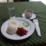 Breakfast Served on Hotel Mikka. (Tocino, Egg with Rice. Served With Coffee.)