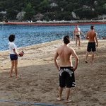 Beach volleyball with the staff