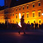 A fire show in The Old Town Square