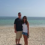 the hubby and i on the beach