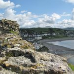 View of the hotel and bay and mountains from Criccieth Castle