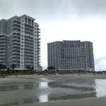 View of the North and South Towers from the beach.