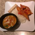 Chicken Curry & Sesame Chicken with Steamed Rice and Spring Roll