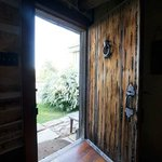 The rustic cabin doorway