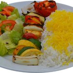Veggie Kabob with Rice and Salad