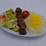 Lamb Kabob with Rice and Salad