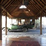 the hotel lobby entrance and safari transport