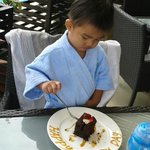 our little Pogi enjoying hubby's brownie treat