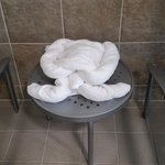 Pool towel sculpture