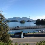 view from top, also the Wecole to Sitka sign for cruise ships