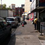 "Looking right from in front of ""Soho"" Hojo. Cheapo Chinatown bus terminals and smelly sidewalks."