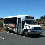 tour van at top of Haleakala