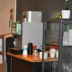 tea/coffee station in reception area