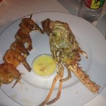 Lobster and barbecue shrimp