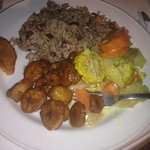 The sides: peas and rice, veggies, plantains