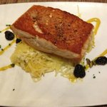 Two Sisters Salmon (with squash, pepitas, cranberries, goat cheese, & smoked corn reduction).