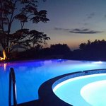 Swimming pool just after nightfall