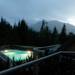 Blackcomb Mountain in the early morning - pool area