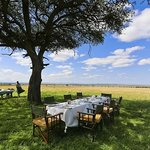 Breakfast on the Maasai Mara Reserve set up by Olonana