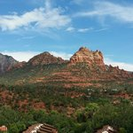 Sedona red rock from balcony at Orchards Inn